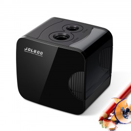 Electric Pencil Sharpener,Best USB or Battery Operated Heavy Duty for No.2 and Colored Pencil,Double Hole,Safety Design,Fast to Sharpened,Portable,For School,Home,Office,Studio - JOLGOO (Black)