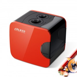 Electric Pencil Sharpener,Best USB or Battery Operated Heavy Duty for No.2 and Colored Pencil,Double Hole,Safety Design,Fast to Sharpened,Portable,For School,Home,Office,Studio - JOLGOO (Red)