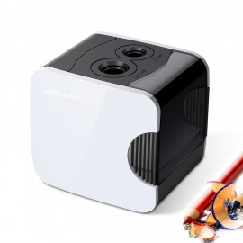 Electric Pencil Sharpener,Best USB or Battery Operated Heavy Duty for No.2 and Colored Pencil,Double Hole,Safety Design,Fast to Sharpened,Portable,For School,Home,Office,Studio - JOLGOO (White)
