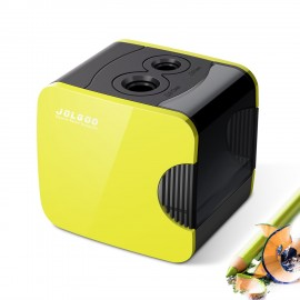 Electric Pencil Sharpener,Best USB or Battery Operated Heavy Duty for No.2 and Colored Pencil,Double Hole,Safety Design,Fast to Sharpened,Portable,For School,Home,Office,Studio - JOLGOO (Yellow)