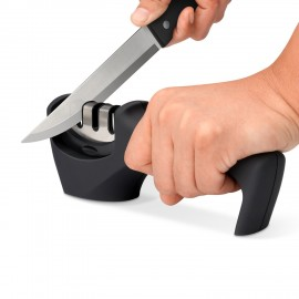 Knife Sharpener, 3 Stage Professional Knife Sharpener System - Ceramic, Coarse and Fine,Suitable for Both Steel and Ceramic Knives All Sizes,Non Slip Base,Safety(Black)